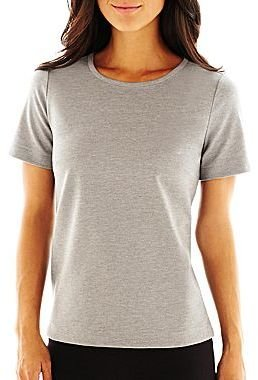 Liz Claiborne Short-Sleeve Ponte Knit Solid Top