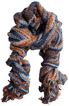 Missoni blue and sepia mohair-blend open knit ruffled scarf