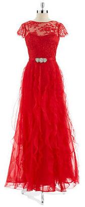 Teri Jon Lace and Ruffle Gown