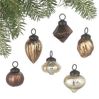 Crate & Barrel Mini Antiqued Metallic Ornaments Set of Six
