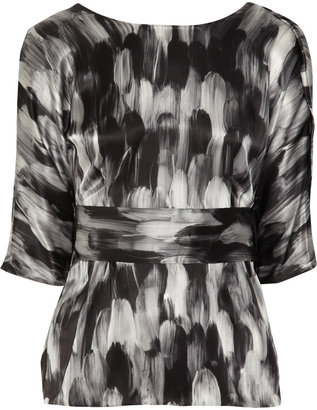 Ports 1961 Printed silk-satin blouse