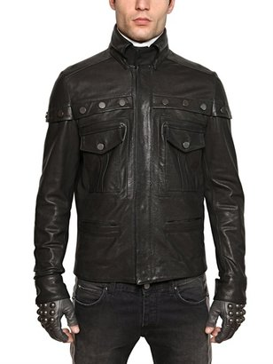 Woven Nappa Carrè Button Leather Jacket