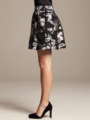 Banana Republic BR Monogram Floral Jacquard Full Skirt