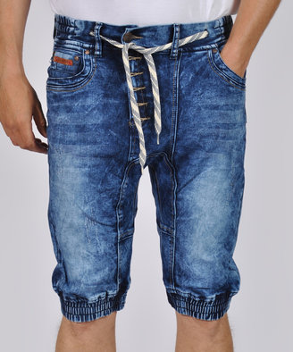 Light Blue Denim Elastic-Waist Drawstring Shorts - Men's Regular