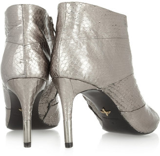 Pour La Victoire Emmy snake-effect metallic leather ankle boots