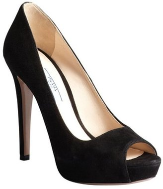 Prada black suede peep toe pumps