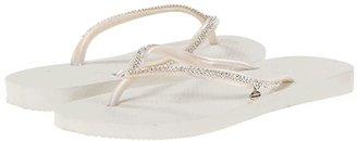 Havaianas Slim Crystal Mesh II Flip Flops (White) Women's Sandals