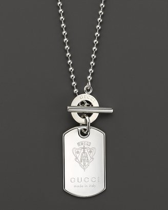 """Gucci Sterling Silver Crest Dogtag Necklace, 19.7"""""""