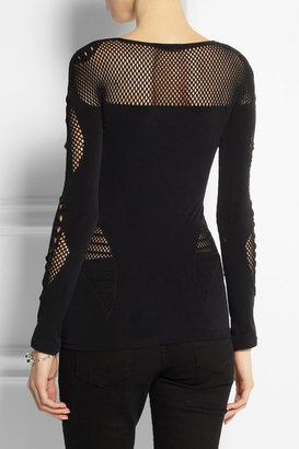 McQ Mesh-paneled stretch-jersey top