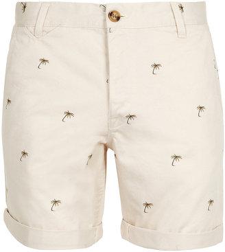 Topman Cream Palm Tree Chino Shorts