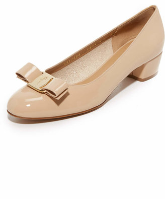 Salvatore Ferragamo Vara Low Heel Pumps $550 thestylecure.com
