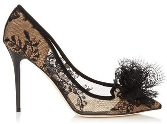 Jimmy Choo Duchess Black Lace with Suede Pointy Toe Pumps