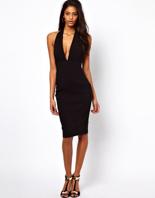 Asos Bengaline Pencil Dress With Deep Plunge