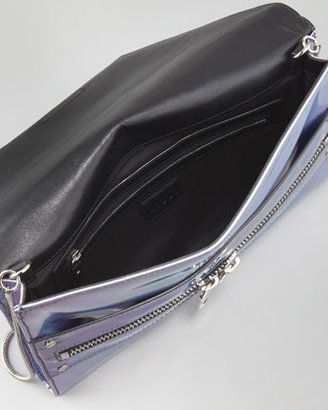 Milly Hologram Demi Clutch Bag, Silver