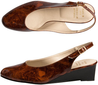 American Apparel Marbled Brown Stacked Patent Slingback Wedges