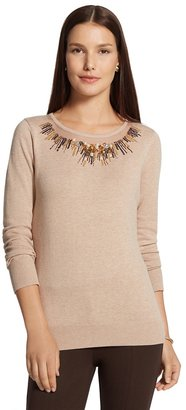 Chico's Embellished Neckline Pearl Pullover