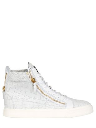 Croc Printed Leather Sneakers