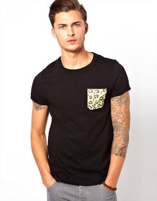 Asos T-Shirt With Leopard Print Pocket