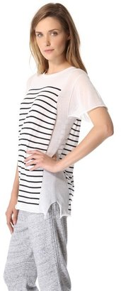 Alexander Wang Striped Panel Sweater with Short Sleeves