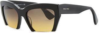 Miu Miu Rasoir Cutoff Square Sunglasses, Black