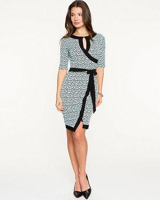 Le Château Brushstroke Print Knit Faux-Wrap Dress