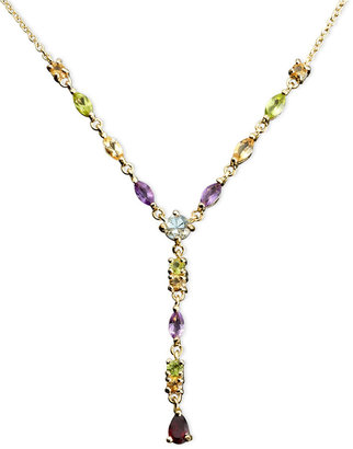 Townsend Victoria 18k Gold over Sterling Silver Necklace, Multistone and Diamond Accent Pear Drop Necklace