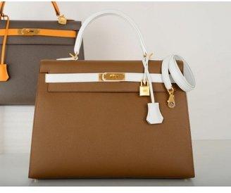 Hermes pristine (PR Bi-Color Gold & White Epsom Leather 35cm Kelly Bag
