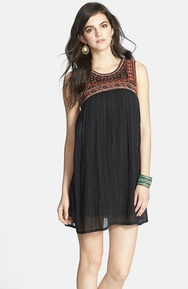 Urban Outfitters Free People Embroidered Bib Cotton Shift Dress