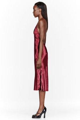 Marc Jacobs Burgundy Velveteen & silk Crossback Dress
