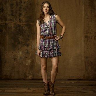 Denim & Supply Ralph Lauren Plaid Ruffled Mini-Dress