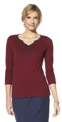 Merona Women's V-Neck Henley Top - Assorted Colors