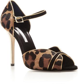 Oscar de la Renta Christina Ponyskin and Suede Sandals