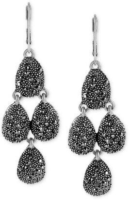 Kenneth Cole New York Earrings, Silver-Tone Pave Crystal Teardrop Chandelier Earrings