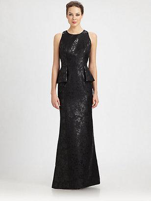 Carmen Marc Valvo Brocade Peplum Gown