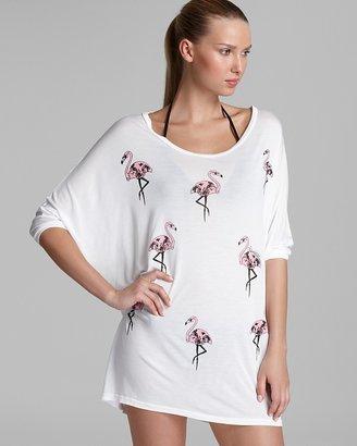Lauren Moshi Oversized Skull Mini Flamingo Swimsuit Cover Up Dress