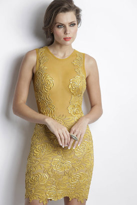 Baccio Couture - Damet Painted Caviar Mustard Short Dress