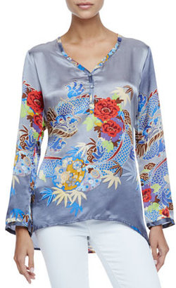 Johnny Was Collection Dralion V-Neck Printed Top
