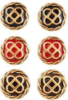 Oscar de la Renta Mosaic Stud Earrings, Golden