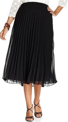 Alex Evenings Plus Size Skirt, Pleated Tea Length