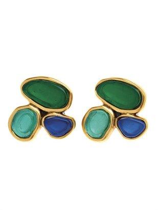 Oscar de la Renta 3 Stone Stud Earring