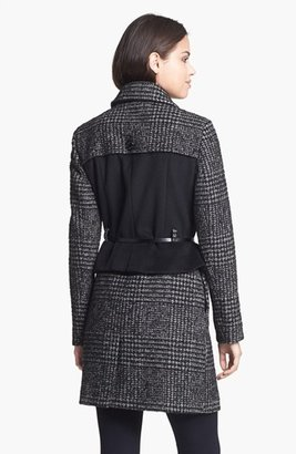 Betsey Johnson Plaid & Solid Wool Blend Peplum Coat