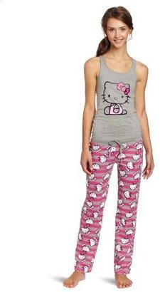 Hello Kitty Juniors Grey Stripe Pajama Set
