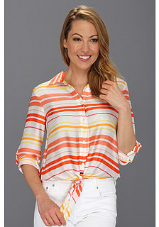 Vince Camuto L/S Tie Waist Button Down Stripe Blouse