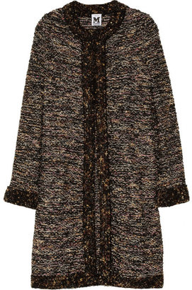 M Missoni Bouclé-trimmed metallic knitted coat