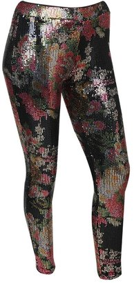 Forever 21 Floral Metallic Sequin Pant