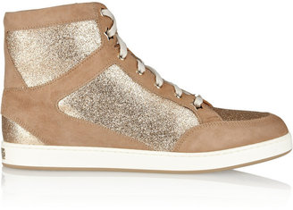 Jimmy Choo Tokyo glitter-finished suede high-top sneakers