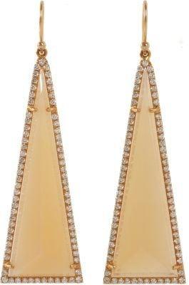Irene Neuwirth Diamond & Peach Moonstone Triangle Drop Earrings