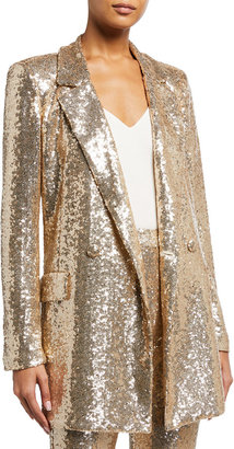 Badgley Mischka Sequin Soft Smoking Jacket