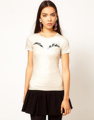 Danielle Scutt Metallic Jersey Top with Printed Peep Bust Detail