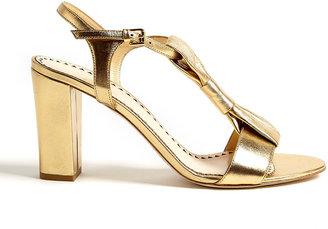 Moschino Cheap & Chic Metallic Leather Bow Block Heel Sandals